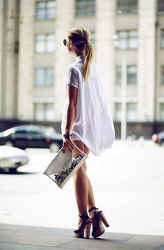 shirtdress & platform sandals #style #fashion