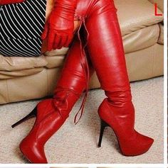 Red Leather Boots, Leather Over The Knee Boots, Red Boots, Thigh High Boots, High Heel Boots, Heeled Boots, Bootie Boots, Super High Heels, Pretty Shoes