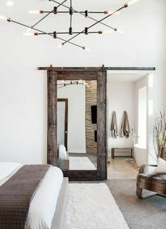 Modern Rustic Master Bedroom Design Ideas - - Do you like a rustic bedroom? We think that it is not something bad when you have a plan to . Rustic Master Bedroom Design, Modern Farmhouse Bedroom, Farmhouse Interior, Home Decor Bedroom, Farmhouse Decor, Bedroom Ideas, Farmhouse Style, Farmhouse Ideas, Bedroom Rustic