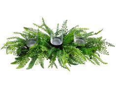 "Tea Leaf/Curly Fern 24"" Centerpiece w/3 Glass Candleholder Green"