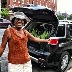 Julia at the Convent Garden : Extremely excited about her new garden goodies loaded in the back of the #GMC at  #GMCNYC