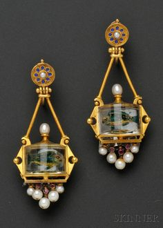 Antique 18KT gold and reverse-painted crystal fishbowl earrings/ ear pendants, c.1870s, each designed as a fish in a cylindrical bowl with rubies.