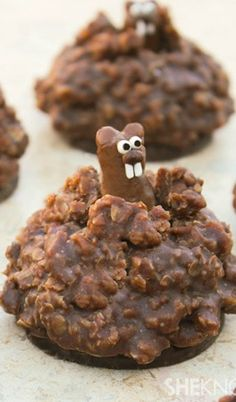Pop-Up Chocolate Ground Hog Cookies - so stinkin' cute! Make the ground hog with tootsie rolls and follow the easy tutorial how to assemble. See adjacent pin for demo - click GIF button