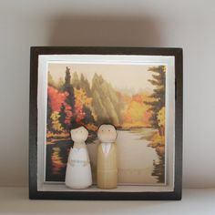 Perfect anniversary gift idea! Shadow Box for cake toppers with Original Custom Landscape Painting of your venue by artXchic