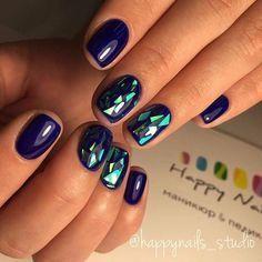 ♕♕ Manicura azul con detalles galacticos ♥♥