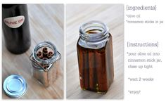 "DIY EASY way to make Cinnamon oil by: ""deliciously organized"" (tut at the click). FYI: *The only thing I would gently suggest is: Wait at least 3 weeks instead of the 2 she states, and use EVOO*. Happy creating! ~south 47th~"