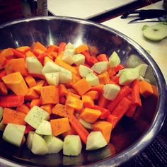 Here we have green apple, butternut squash, Rosemary, and carrots.
