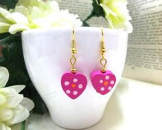 Hand Painted Wooden Pink Heart Earrings Wood Heart by BeadSparkleZ