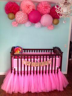 Tutu crib skirt, paper lanterns, tissue Pom poms