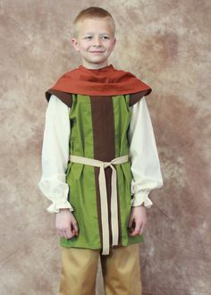 Boys Medieval Renaissance Huntsman Tunic by HeritageDressmakers....Boys Medieval Renaissance Huntsman Tunic and Hood/Cowl