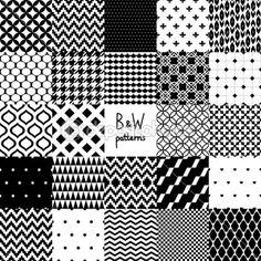 흑인과 백인 24 다양 한 완벽 한 패턴 집합을 추상화, 벡터 — Stock Illustration #32865361