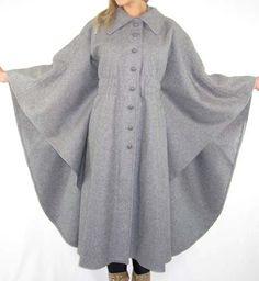 70s Avant Garde Gray Draped Wool Cape Coat