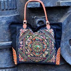 ae9f1bccf298 Hand Made bag  Embroidery Tote Bag Casual bags Fashion bag Travel  package Shop tote bag Women bag Embroidered Tote Bag  single shoulder bag