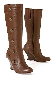 Modern old fashioned chocolate brown boots