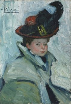 Woman with a Cape: 1901 by Pablo Picasso - oil on canvas (Cleveland Museum of Art, Cleveland, Ohio)