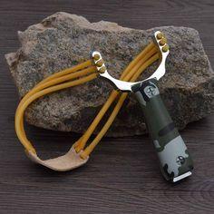 강력한 알루미늄 합금 새총 석궁 사냥 슬링 샷 투석기 위장 활 투석기 야외 캠핑 여행 키트