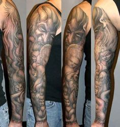 Tattoos - Paul Booth - Demon with angels and succubi sleeve tattoo