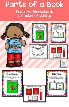 Parts of a Book - Posters, worksheets, printables and center activity to teach your students the different parts of a book.
