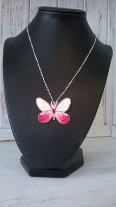 Pink Butterfly Handmade pendant on an 18 by thomaschadwickdesign, £10.00