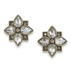 Earrings Stud | Illusions of India Crystal Flower Stud Pierced | Carolee Jewelry