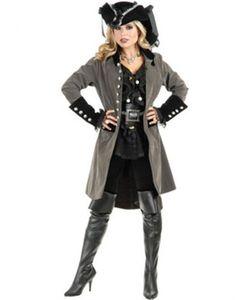 Women's XL 14-16 Gun Metal Grey And Black Pirate Vixen Costume Long Jacket Coat