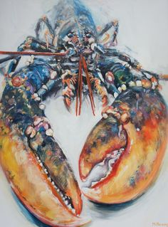 ARTFINDER: Lobster by Michelle Parsons - Orange, blue, purple and red brushstrokes contrast with a pale blurred background. The latest in the Lobster series ....