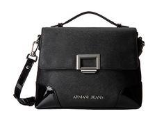 Armani Jeans Saffiano And Patent Satchel Black - Zappos Couture