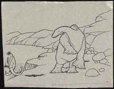 Cartoon America - Animation | Exhibitions - Library of Congress -- Winsor McKay. Gertie the dinosaur standing on a cliff edge looking at a mastodon, tracing, ca. 1980, from 1914 drawing. Ink on rice paper.