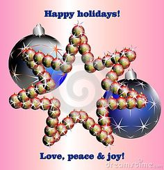 Star made of Christmas balls on pink background with stars