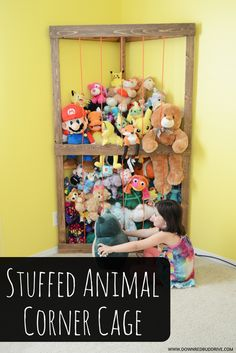 Stuffed Animal Corner Cage The Effective Pictures We Offer You About farmhouse Toy Storage A quality Diy Toy Storage, Corner Storage, Kids Storage, Storage Ideas For Kids, Cuddly Toy Storage Ideas, Stuffed Toy Storage, Teddy Storage, Diy Storage Building, Toy Corner
