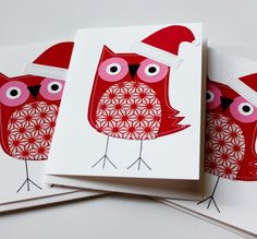 Stitched Red Holiday Owls Set von polkadotshop auf Etsy