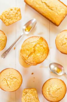 Honey Cornbread Muffins - Finally cornbread that's not dry! Fluffy, moist and sweetened with honey! You'll love this sweet cornbread on your holiday table!
