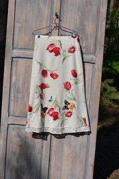 Festival folk maxi skirt M Boho upcycled skirt, gypsy skirt, tulle folk skirt ,reworked maxi skirt, bohemian skirt, upcycled clothing