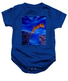 Purchase a baby onesie featuring the image of Dare by Faye Anastasopoulou.  Available in sizes S - XL.  Each onesie is printed on-demand, ships within 1 - 2 business days, and comes with a 30-day money-back guarantee,   apparel, wear, clothing, summer, designed, artistic, unique, dark blue, tiger, boys