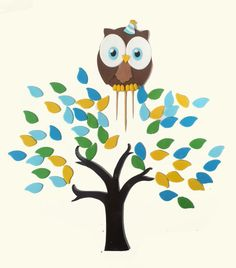 Handmade cute fondant Owl tree and name plaque by TheCupcakeForge, $30.00
