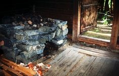 old finnish sauna stock photo
