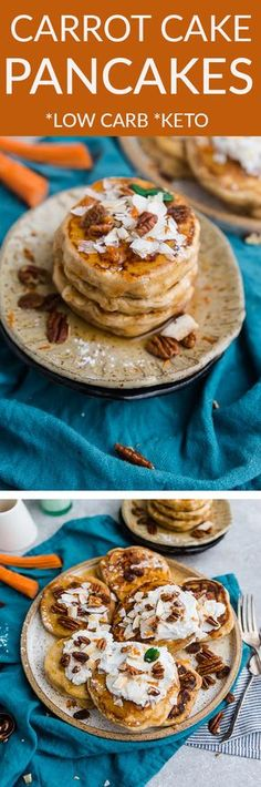 These Carrot Cake Pancakes perfect or any spring breakfast or Easter brunch. Best of all, they're low carb and have all the classic flavors you love about the popular cake. It's like having dessert for breakfast Keto-friendly ingredients. Grain free, sugar free and made with coconut, carrots, pecans and cream cheese. #keto #carrotcake #pancakes #brunch #easter #breakfast