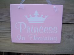 """Princess In Training  Just perfect for that little girl in your life. Perfect for a bedroom door,  bedroom or fort /doll house decoration.  Measurement: 11""""x8.5""""  Please note the measurement does not"""