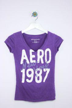 Aeropostale Size XS Purple V-Neck Tee