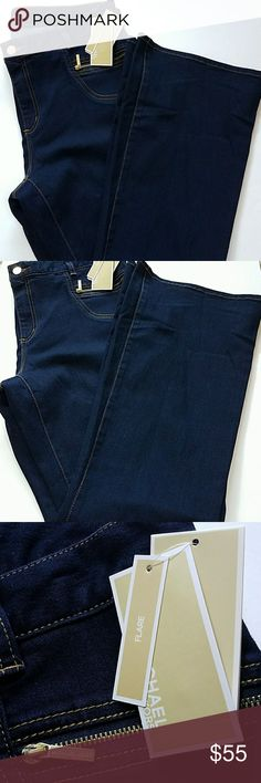 """Michael Kors Dark Wash Zipper NWT Jeans 14 Size: 14 Color: Dark Indigo (tag says overdyed indigo) with gold hardware/zips Style: Flare Condition: Brand New with tags Non-smoking home  Approximate Measurements  Across flat Beltline: 18.5"""" Rise crotch to top of button: 10.5"""" Inseam crotch to bottom hem: 31.5"""" Ankle flat: 11.5"""" Michael Kors Jeans Flare & Wide Leg"""