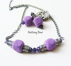 Necklace and Earrings FREE as a gift, In Purple Colour, Crochet Beads, Christmas Gifts, Autumn Collection, Jewellery on Etsy, £15.29