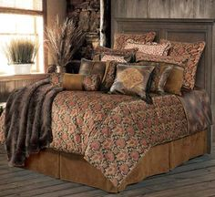Austin Western Bedding - Rustic bedding, luxurious and affordable. Designed for a Western bedroom, lodge style bedroom, cabin or mountain style bedroom. The Austin Western bedding set includes comforter, tailored bedskirt, 2 pillow shams (Twin size has 1 sham) and decorative neckroll. Additional accessories are available and priced separately.