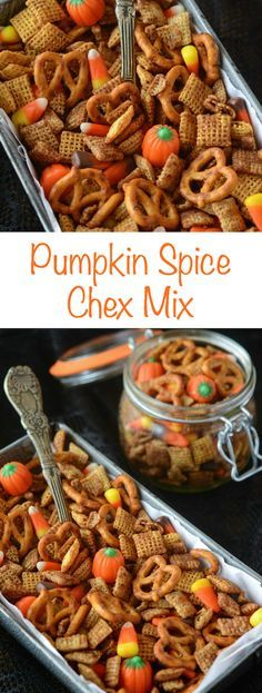 Pumpkin Spice Chex Mix! You can make it in the oven and your house will smell…