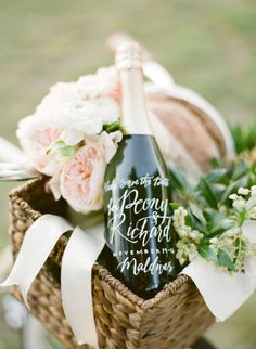 Romantic Picnic Basket with Calligraphy Champagne Bottle | KT Merry Photography | See More! http://heyweddinglady.com/elegant-country-manor-wedding-inspiration-in-marble-and-blush/