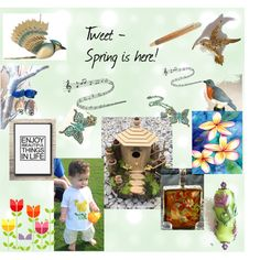 Tweet - Spring is Here! by owlartshop on Polyvore featuring art, TintegrityT and EtsySpecialT