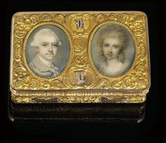 A FRENCH GOLD SNUFF-BOX SET WITH TWO ENGLISH PORTRAIT MINIATURES BY ALEXANDRE-RAOUL MOREL (FL. 1833-1850), MARKED, PARIS, CIRCA 1840, WITH I...
