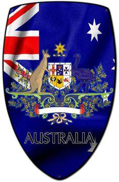 Vintage and Retro Tin Signs - JackandFriends.com - Australia Shield Custom Shape Metal Sign 21 x 32 Inches, $94.98 (http://www.jackandfriends.com/australia-shield-custom-shape-metal-sign-21-x-32-inches/)