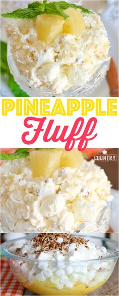 Pineapple Fluff recipe from The Country Cook Pineapple Fluff is a no-bake dessert recipe with COOL WHIP, pineapple, marshmallows, instant pudding, pecans and coconut. Fluff Desserts, Dessert Salads, Fruit Salad Recipes, Köstliche Desserts, Delicious Desserts, Jello Salads, Healthy Fruit Salads, Summer Fruit Salads, Healthy Eating