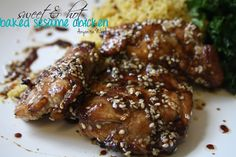 Sweet & Hot Baked Sesame Chicken from Anyonita Nibbles Turkey Recipes, Chicken Recipes, Dinner Recipes, Healthy Sesame Chicken, Actifry Recipes, Creative Food, Easy Meals, Favorite Recipes, Lunch