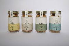 Mason Jar Cereal Branding - Dan Wells' June Cereal Packaging is Artisanal and Authentic (GALLERY) Cereal Packaging, Spices Packaging, Honey Packaging, Bottle Packaging, Food Branding, Food Packaging Design, Packaging Design Inspiration, Brand Packaging, Jar Design